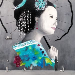 Aqua Geisha by the wall painters: 120 x 120 cm  Malet på bestilling
