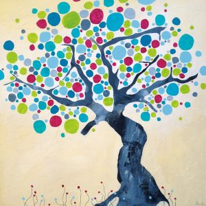 Paynes grey tree 120 x 120 cm