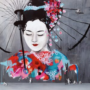 Geisha by the wall painters: 150 x 150 cm. SOLGT