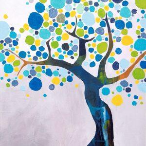 Blue Tree: 60 x 80 cm. SOLGT