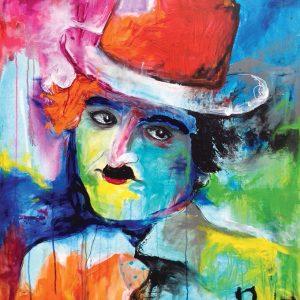 Charlie Chaplin: 80 x 100 cm.